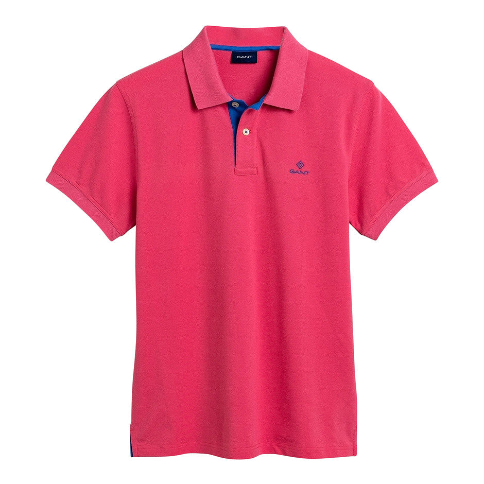 Contrast Collar Pique Rugger Shirt for Men in Fuchsia