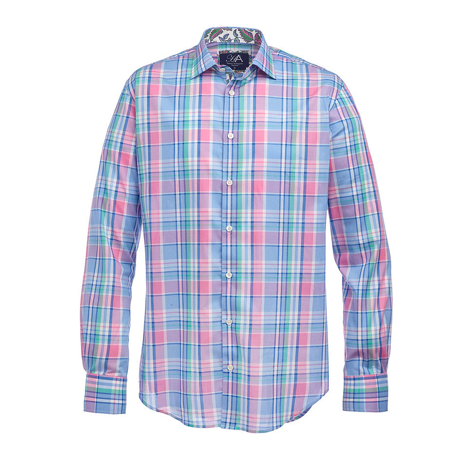 Madras Check Shirt for Men in Pink