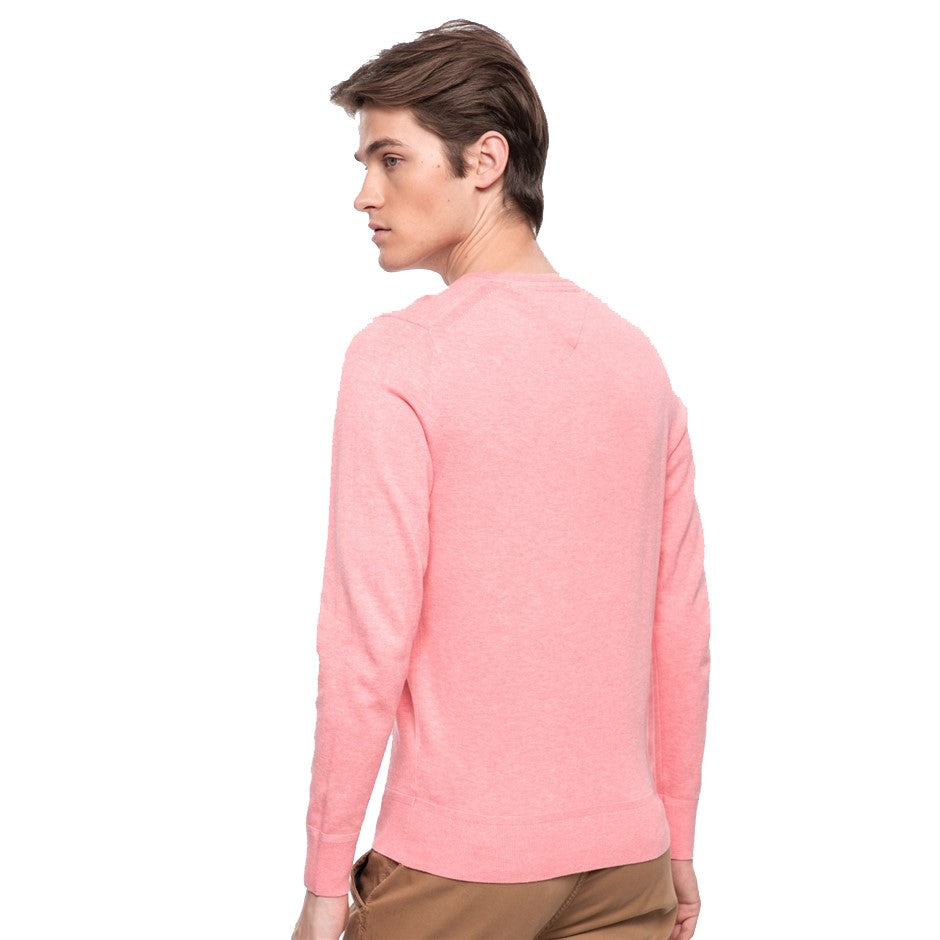 Organic Cotton Silk Crew Neck for Men in Coral
