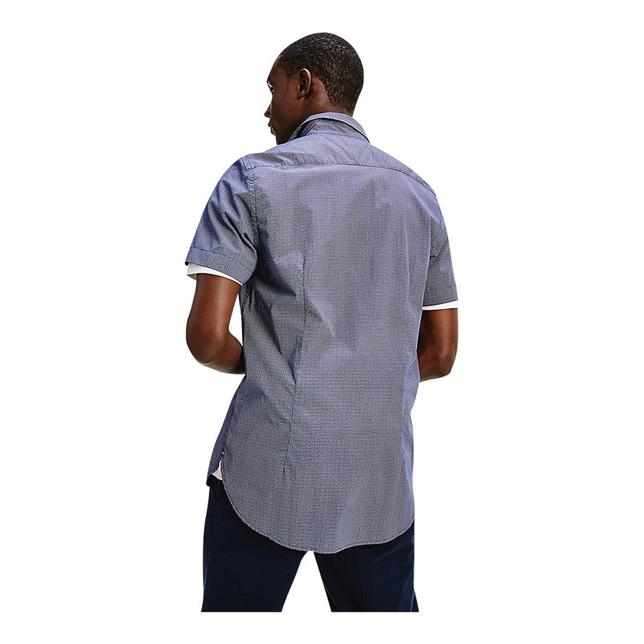 Slim Small Dot Print SS Shirt for Men in Navy
