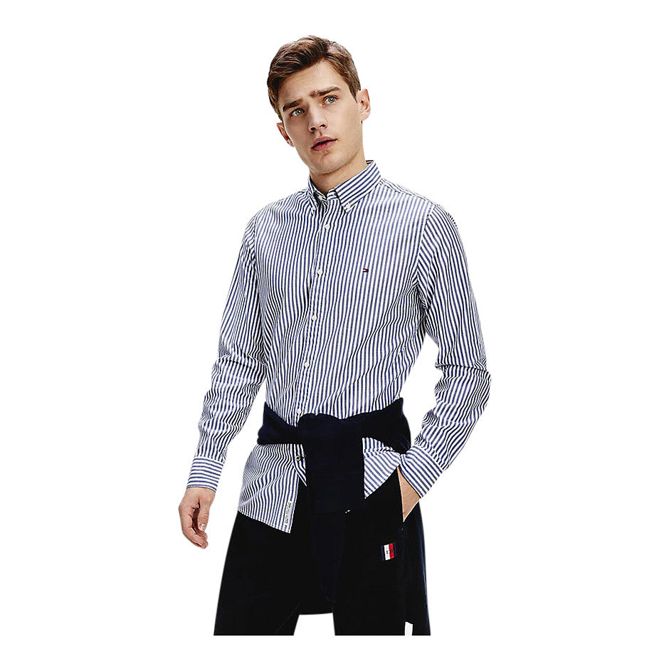 Slim Natural Soft Stripe Shirt for Men in Blue
