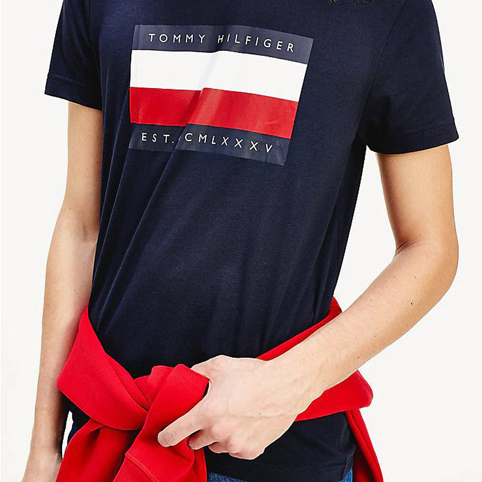 Corp Stripe Box Tee for Men in Navy