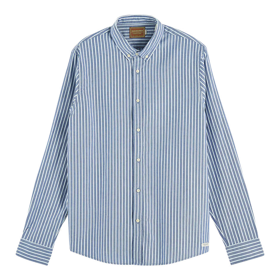 L Sleeve Stripe Shirt for Men in Blue