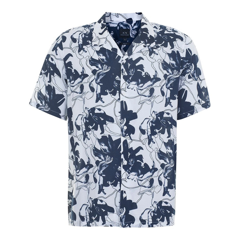 Short Sleeve Floral Shirt for Men in Navy