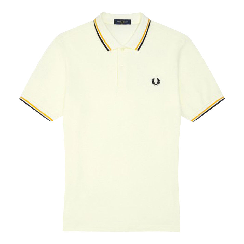 Tipped Polo for Men in White & Gold