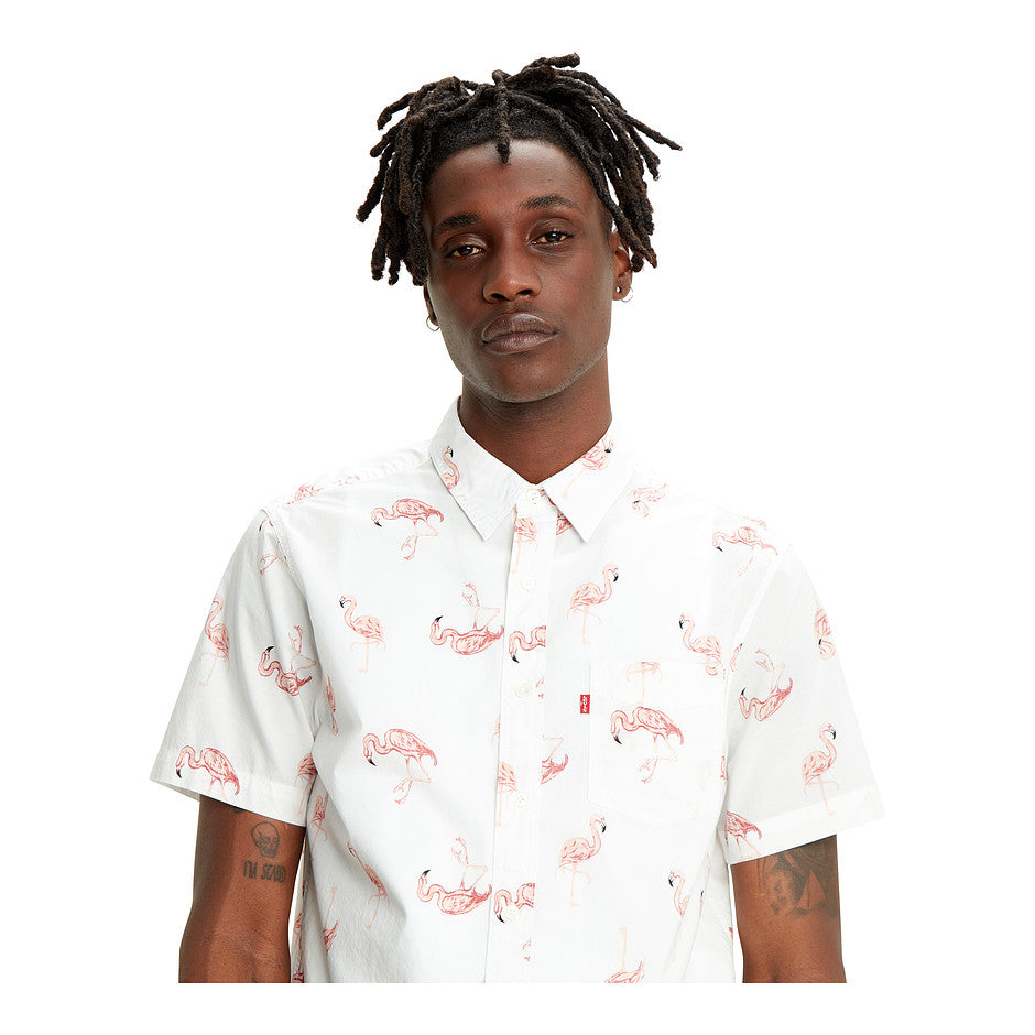 Sunset Flamingo Print Short Sleeve Shirt for Men in Pink
