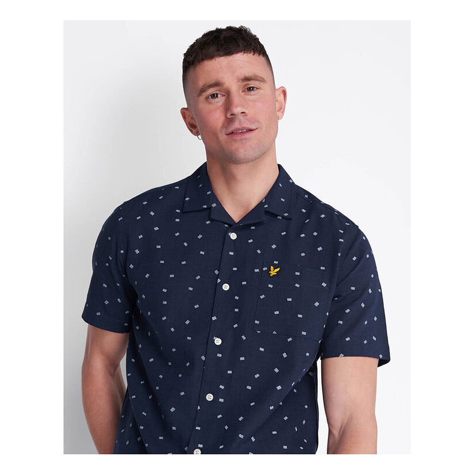 Printed Resort Shirt for Men in Navy