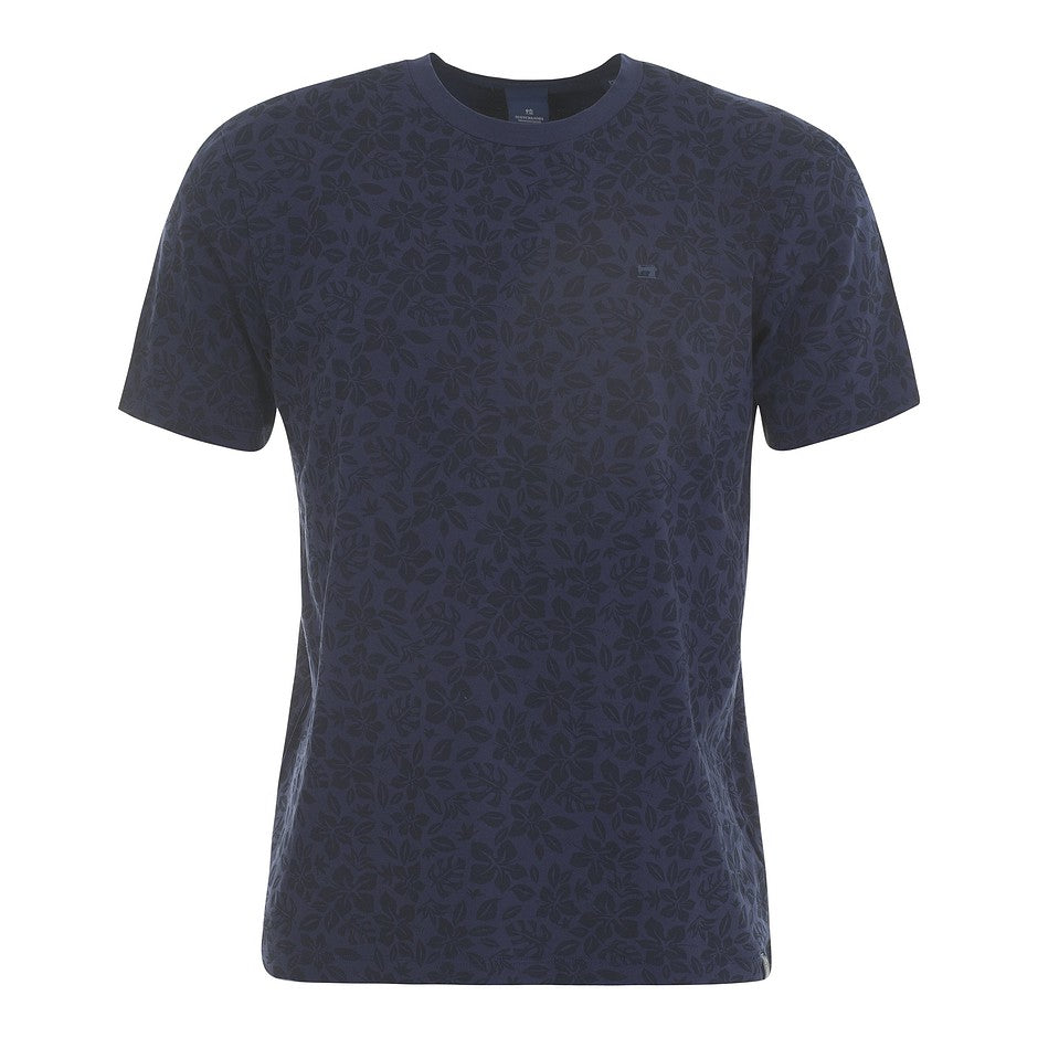Floral Print Tee for Men in Navy