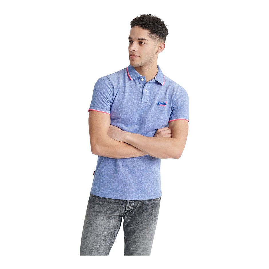 Poolside Pique SS Polo for Men in Blue