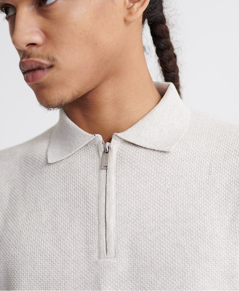 Edit SS Knitted Polo for Men in Grey