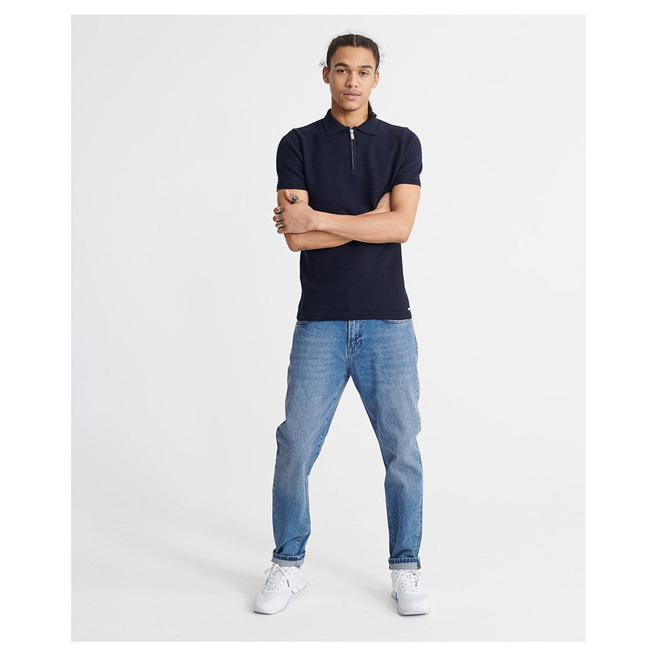 Edit SS Knitted Polo for Men in Navy