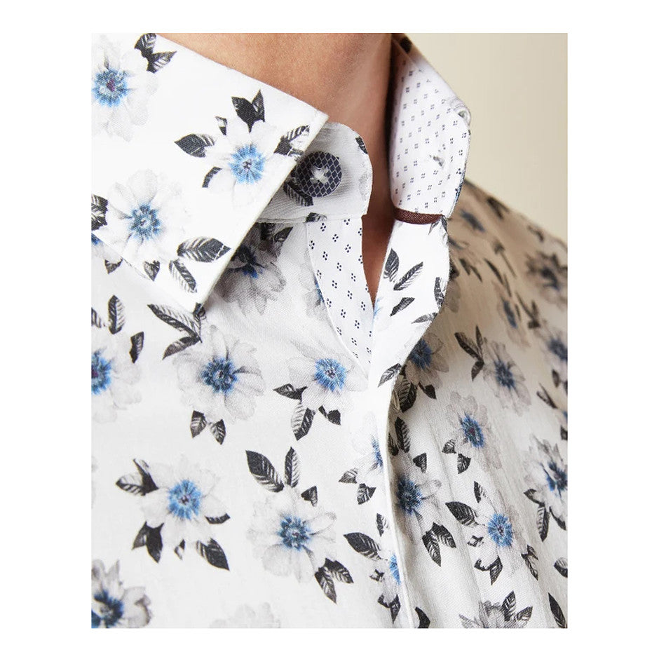 WEVILL Long Sleeve Floral Shirt for Men in White - ROLLOVER