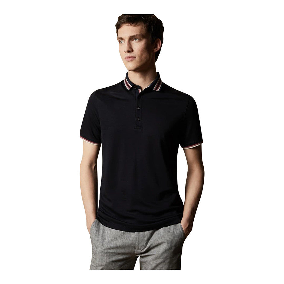 Trim Collar Polo for Men in Navy