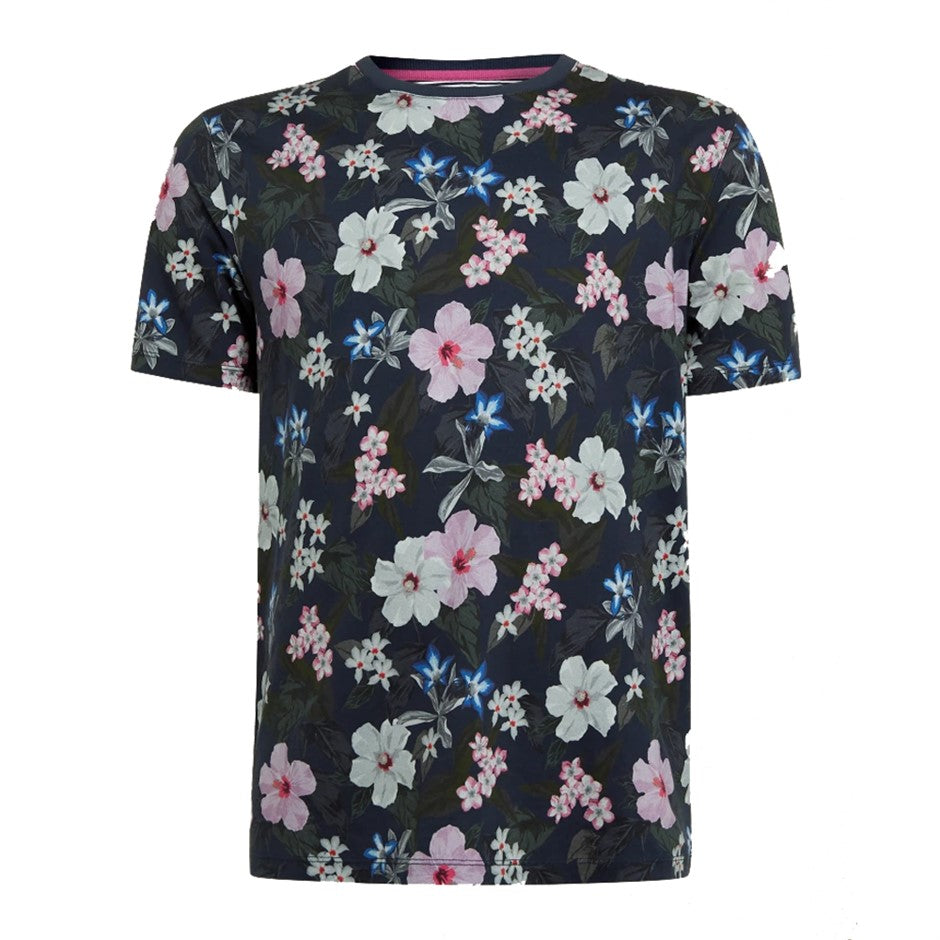 Floral Tee Shirt for Men in Navy