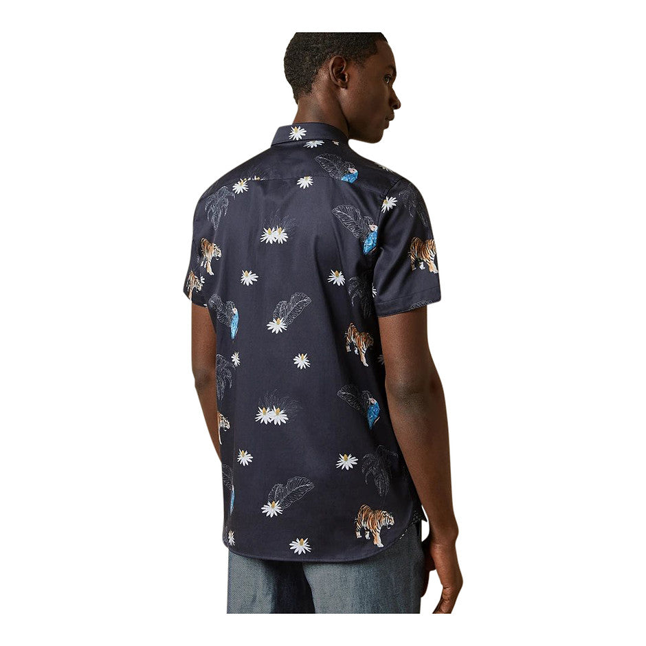 Short Sleeve Print Shirt for Men in Navy