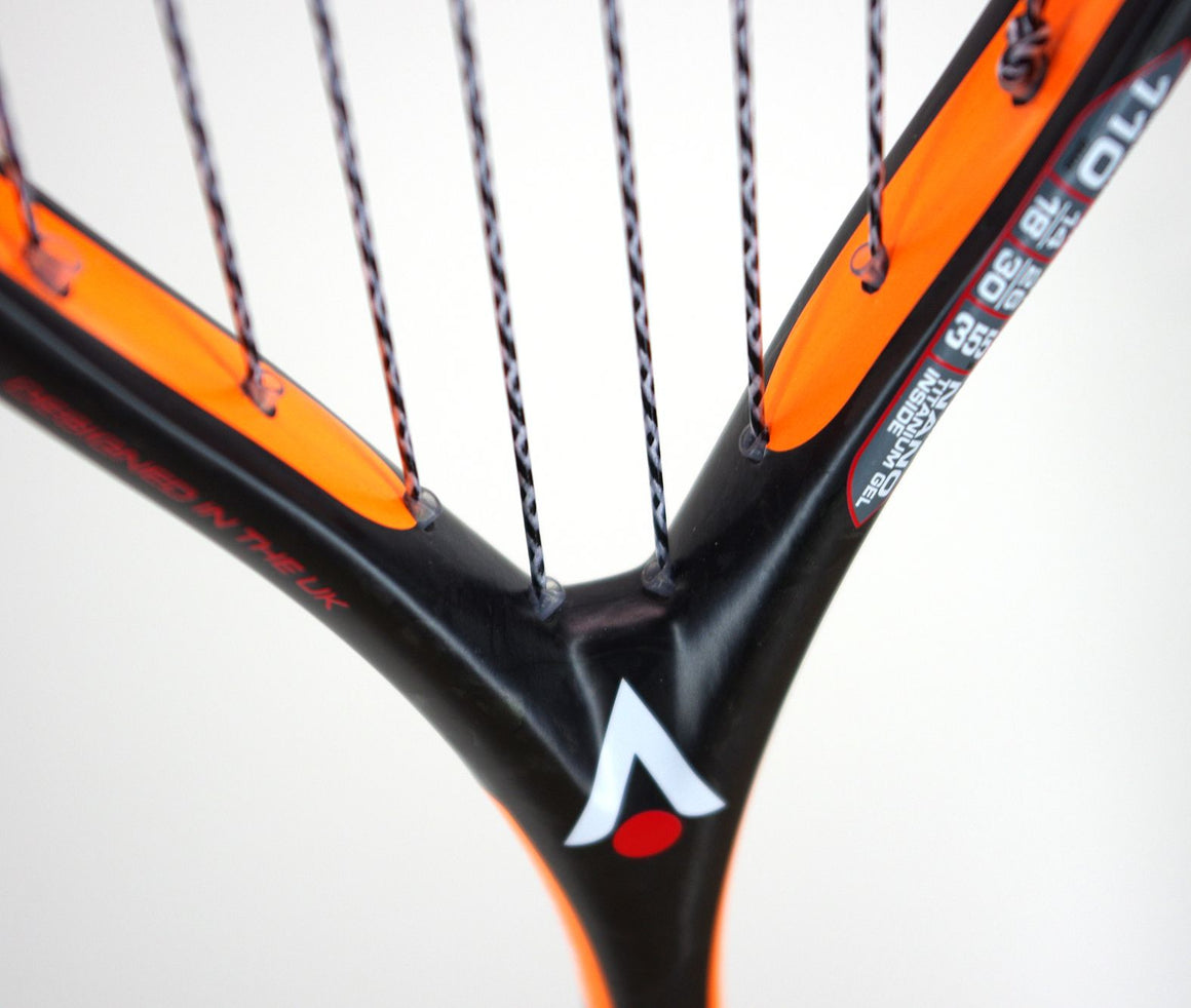 Raw 110 Squash Racket in Black & Orange