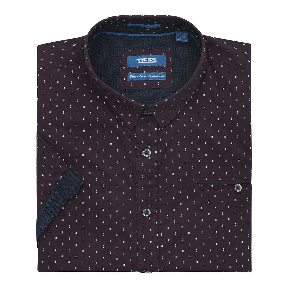 Decker Spot Print Short Sleeve Shirt for Men in Burgundy