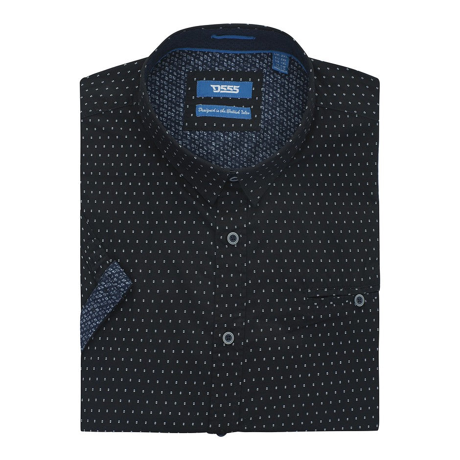 Anton Spot Print SS Shirt for Men in Navy