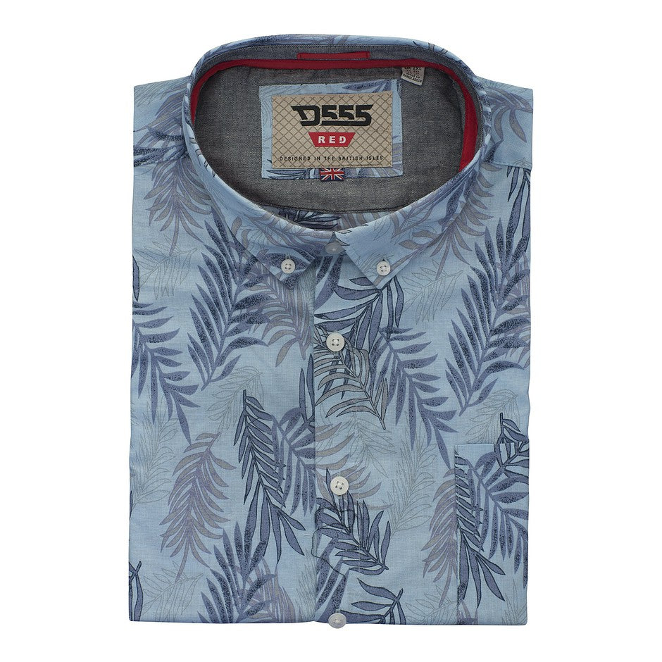 Santana Hawaiian Leaf Short Sleeve Shirt for Men in Sky