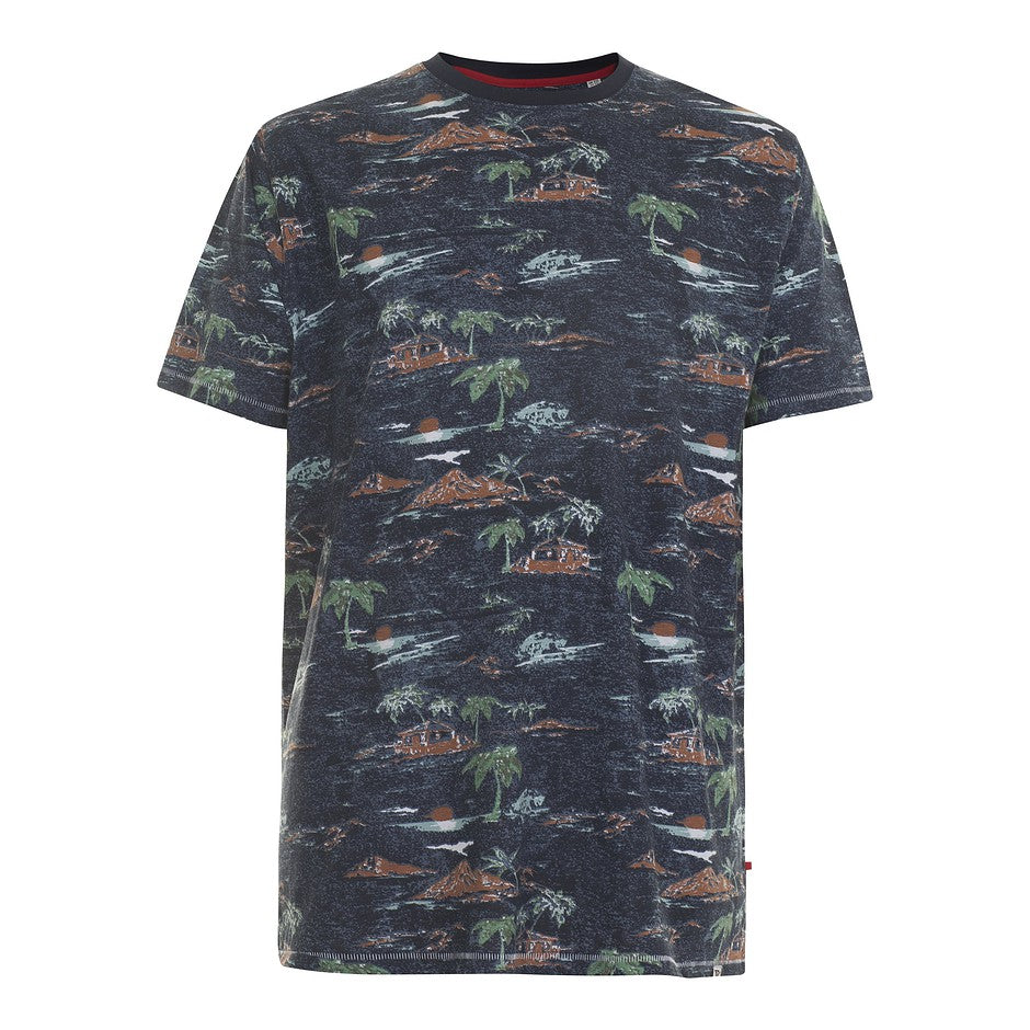 Chester Hawian Print Tee for Men in Navy