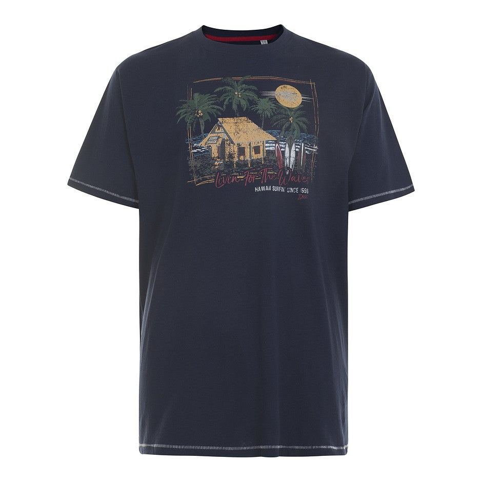 Collins Hawaiian Beach Hut Tee for Men in Navy