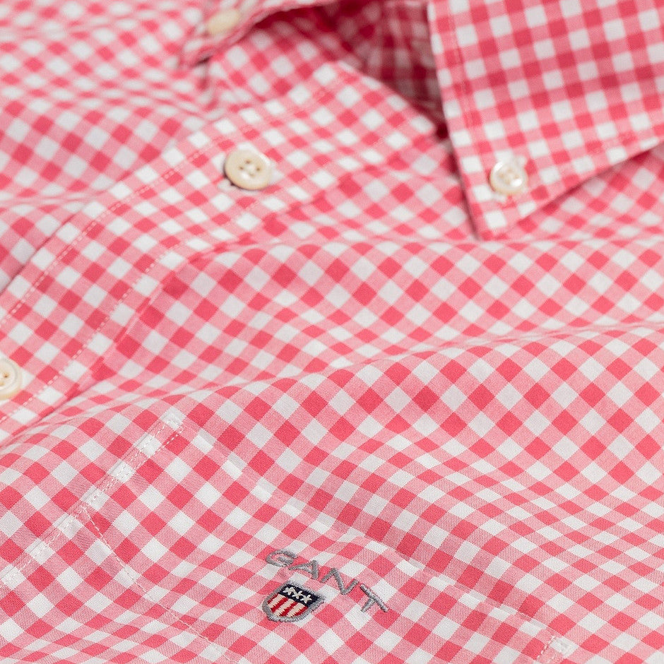 Broadcloth Gingham SS Shirt for Men in Fuchsia