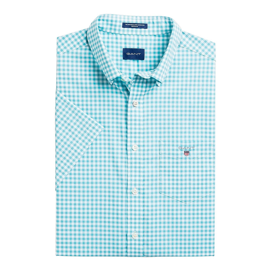 Broadcloth Gingham SS Shirt for Men in Turquoise