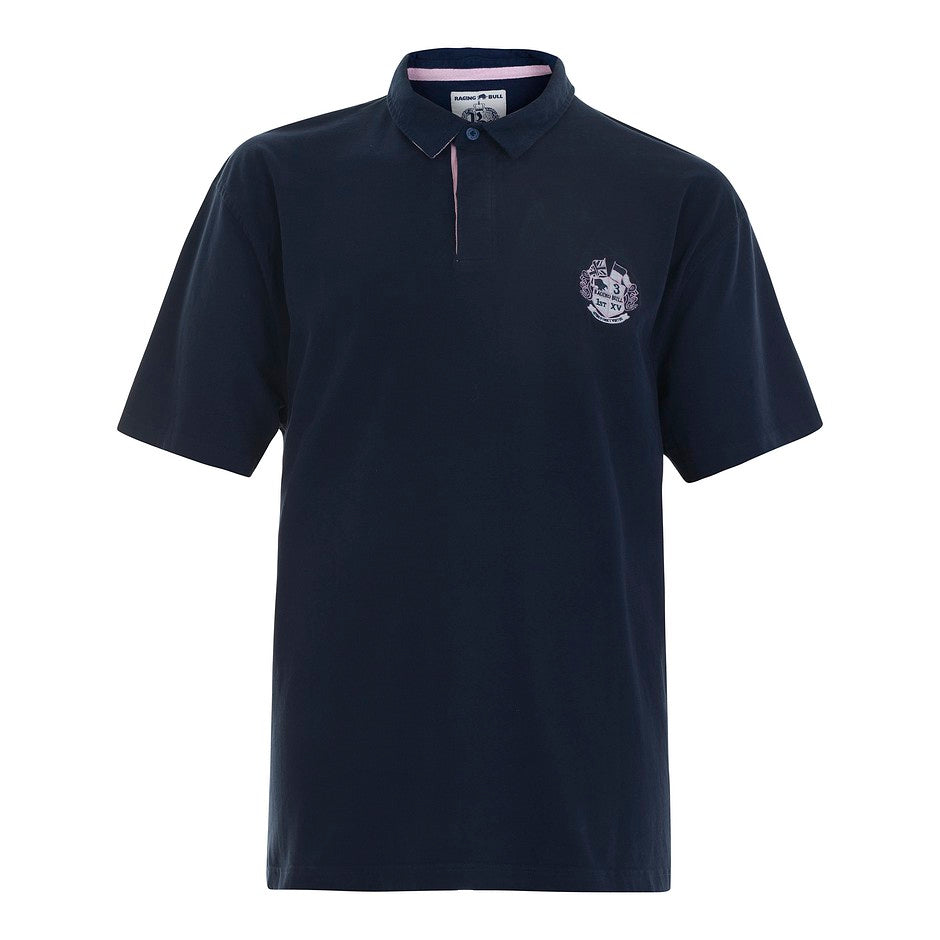 SS Plain Rugby Shirt for Men in Navy