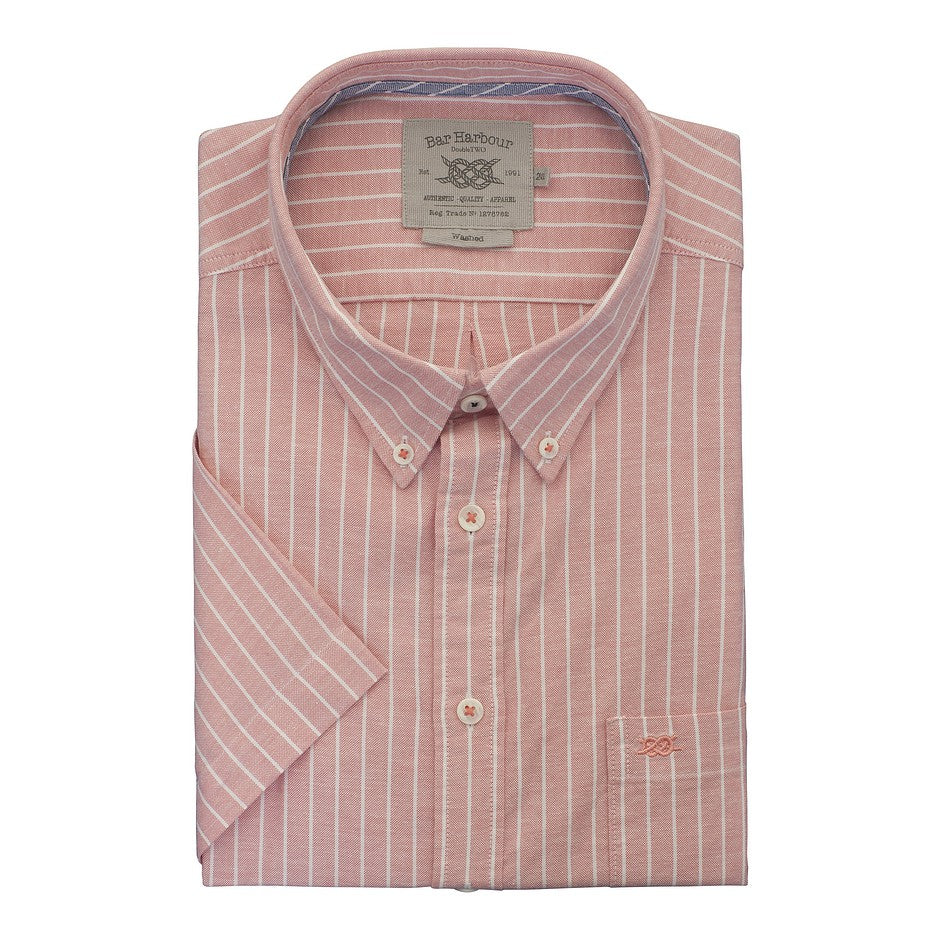 Stripe Short Sleeve Oxford Shirt for Men in Pink
