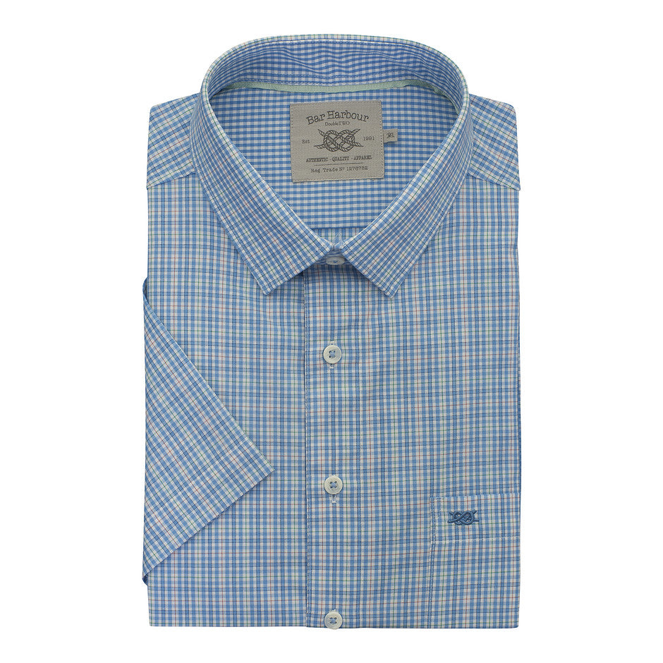 Small Check Short Sleeve Shirt for Men in Sky