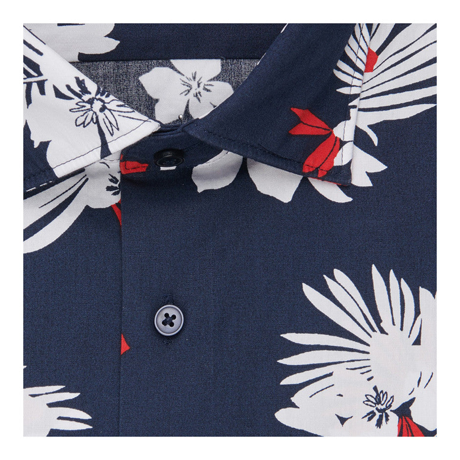 Modern Fit Floral LS Shirt for Men in Navy