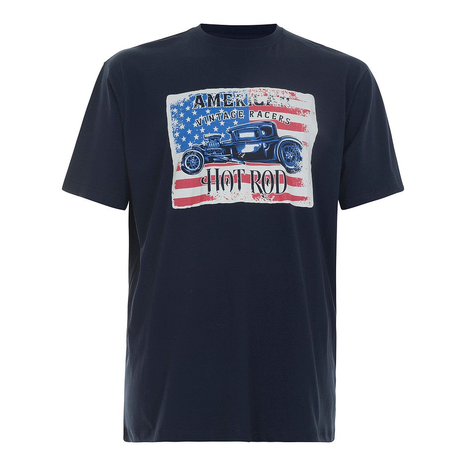 Retro Hot Rod CN T-Shirt for Men in Navy