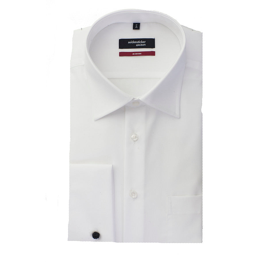 Splendesto Double Cuff Shirt for Men in White