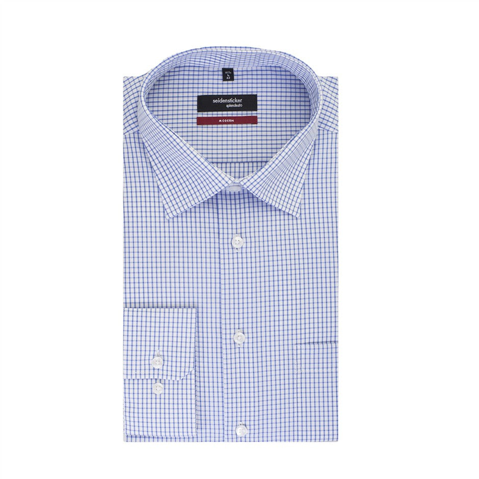 Splendesto Plus Shirt for Men in White & Blue Check - Extra Tall