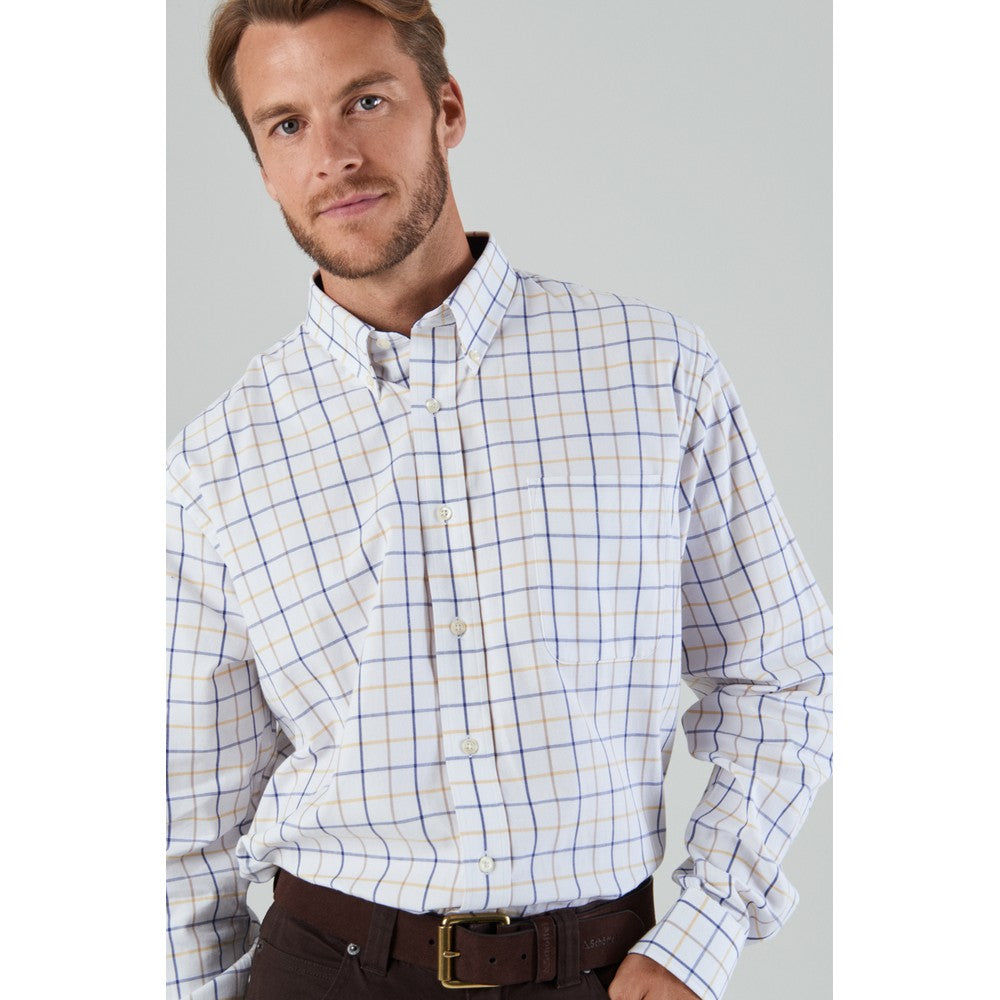 Brancaster Classic Shirt for Men in Navy/Brown/Yellow Wide Check
