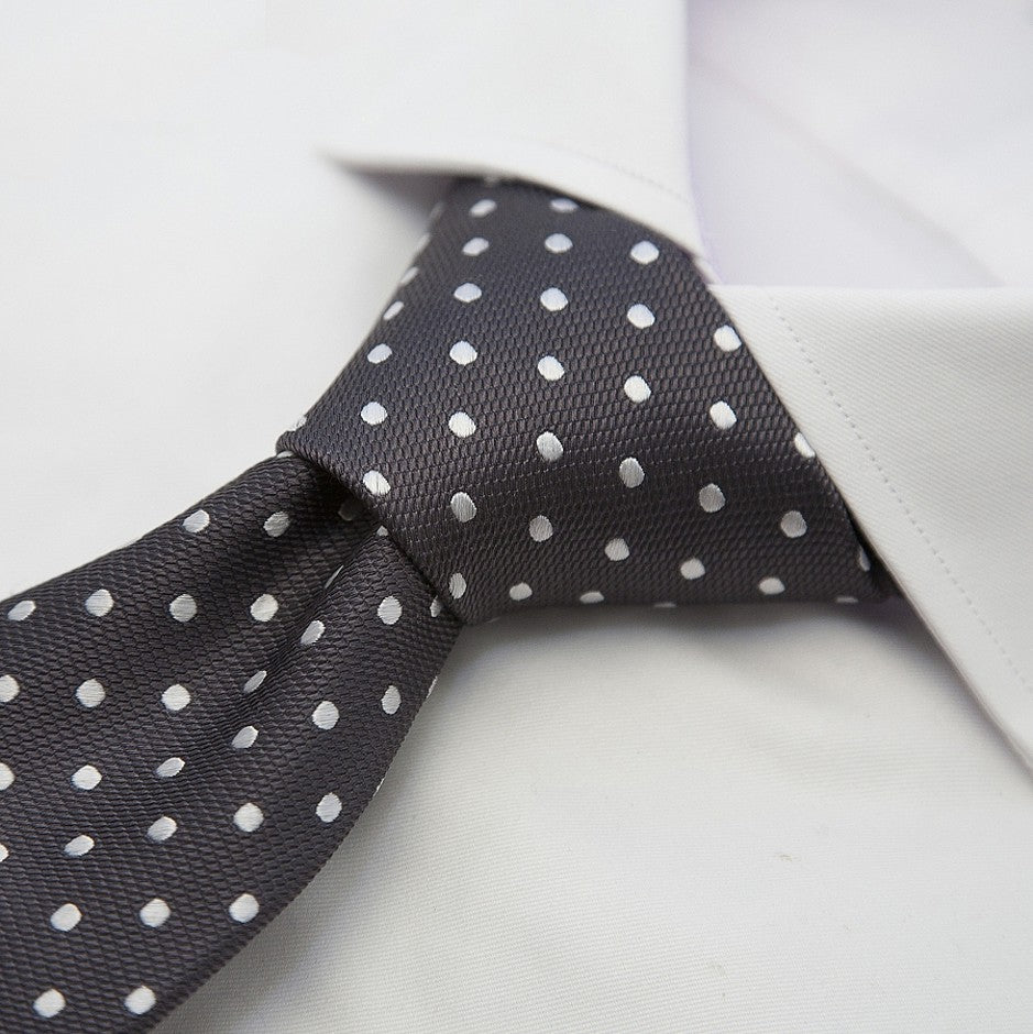 Italian Silk Tie in Grey and White Woven Spot