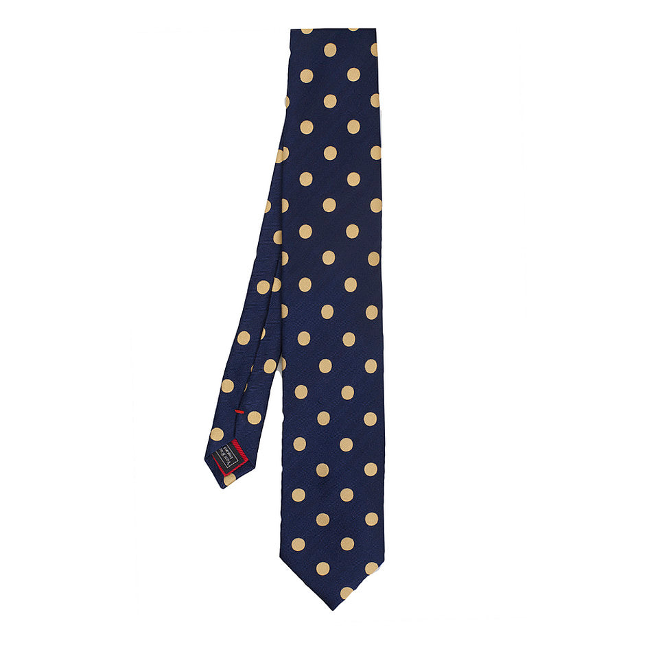 Italian Silk Tie in Navy and Gold