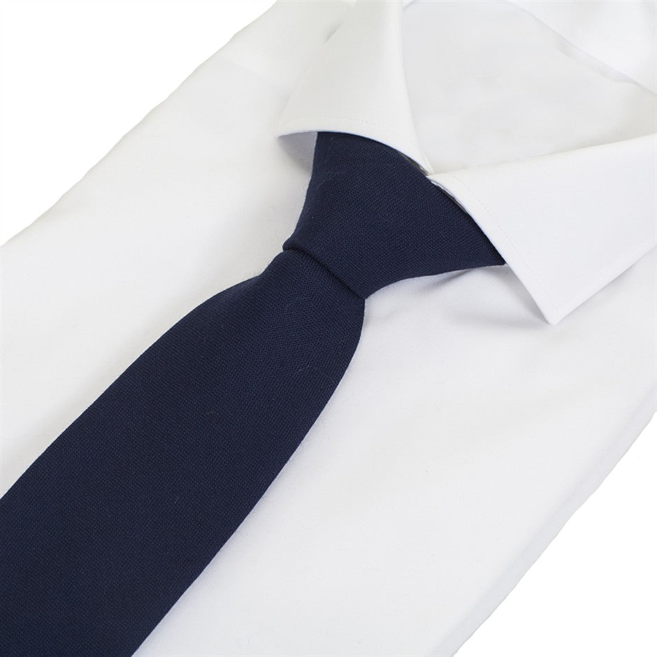 Plain Wool Tie for Men in Navy