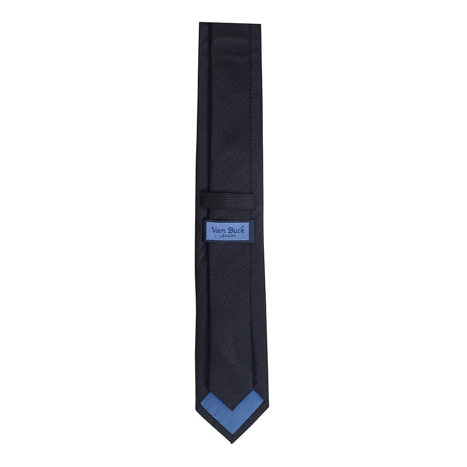 Blue Label Silk Textured Tie for Men in Black