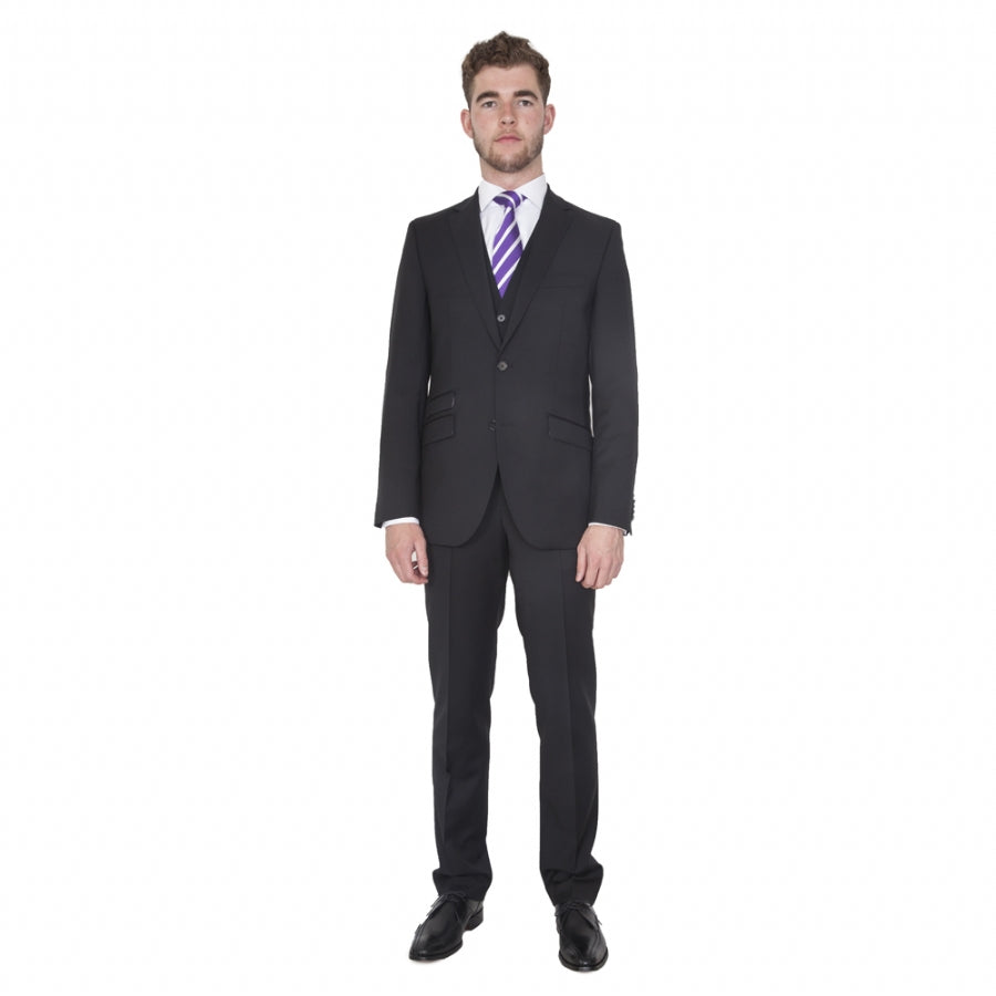 Willesden Wool Suit Waistcoat for Men in Pitch Black