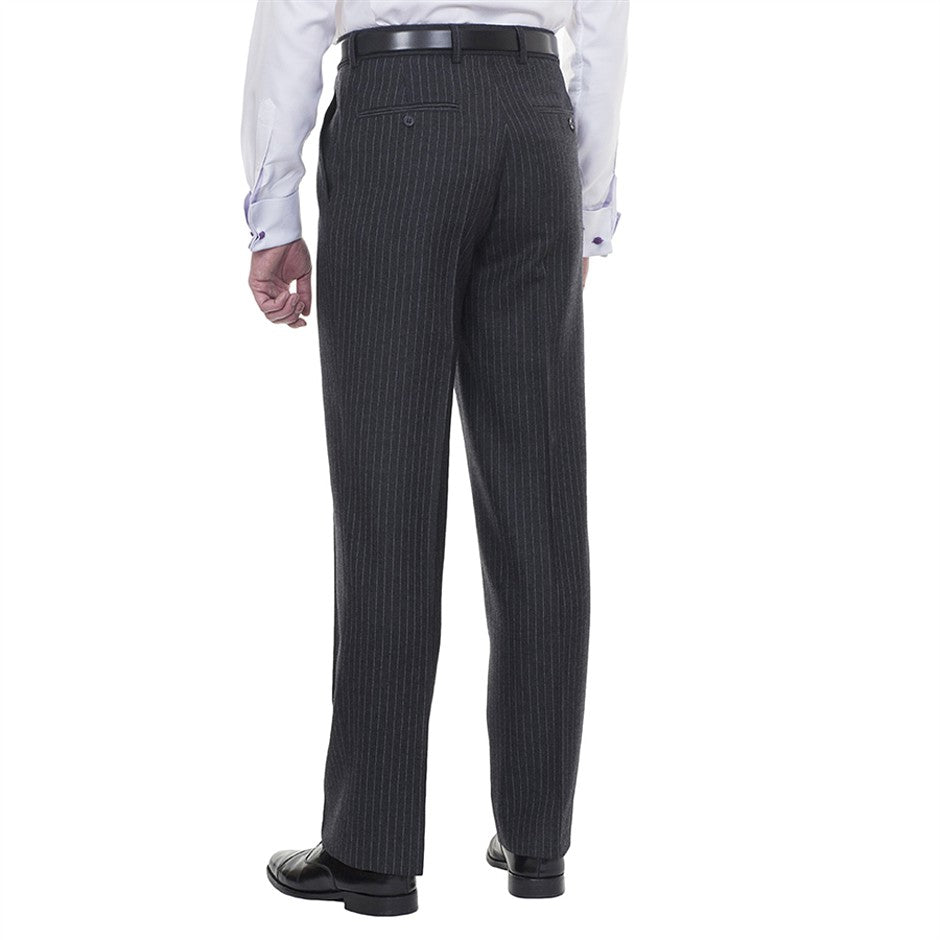 Classic Fit Wool Suit Trousers for Men in Charcoal Stripe