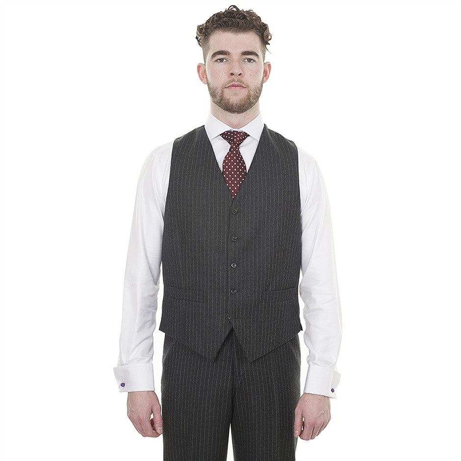 Classic Fit Wool Suit Waistcoat for Men in Charcoal Stripe
