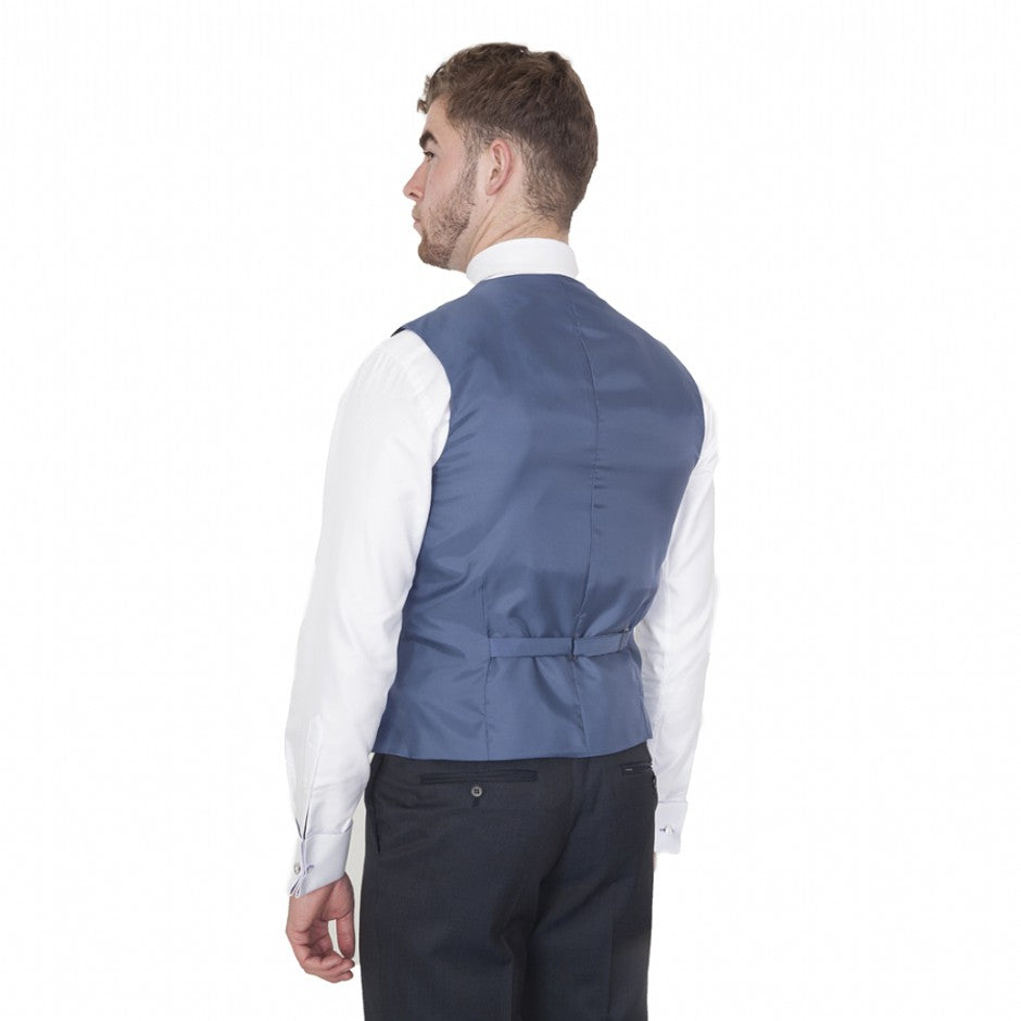 Contemporary Fit Wool Blend Suit Waistcoat for Men in Ink Blue