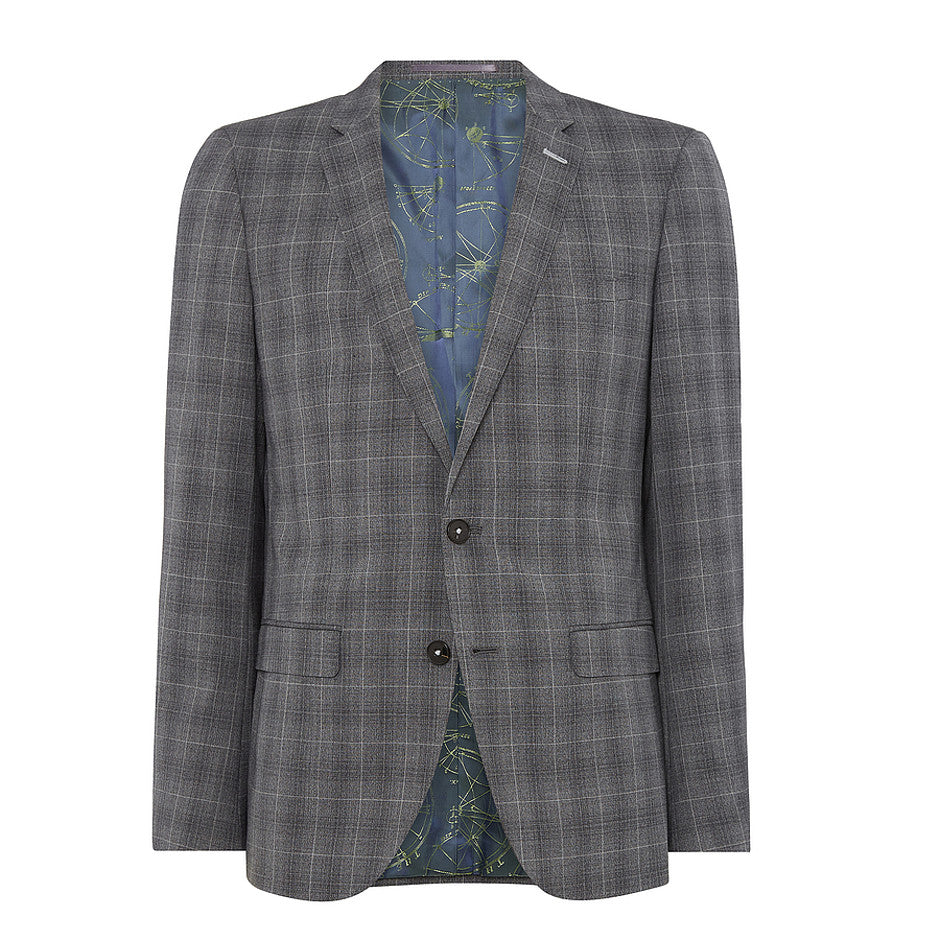 Extra-Slim Suit Jacket for Men in Grey Check