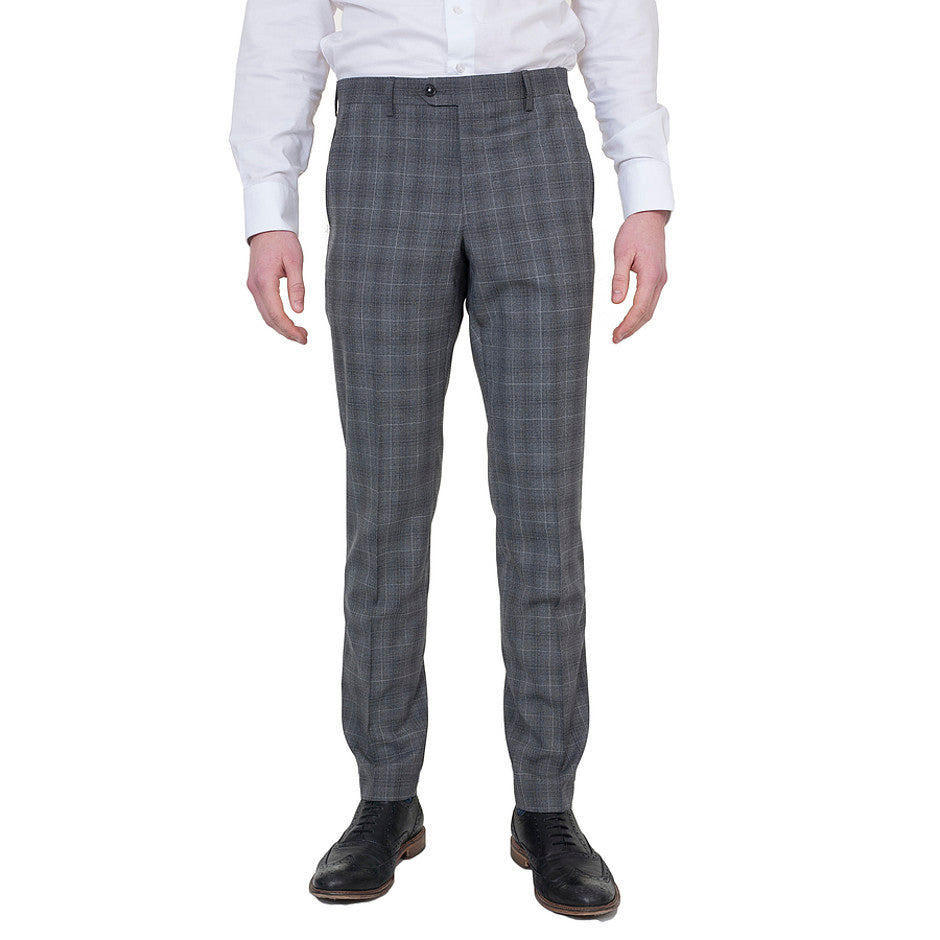 Extra-Slim Trousers for Men in Grey Check