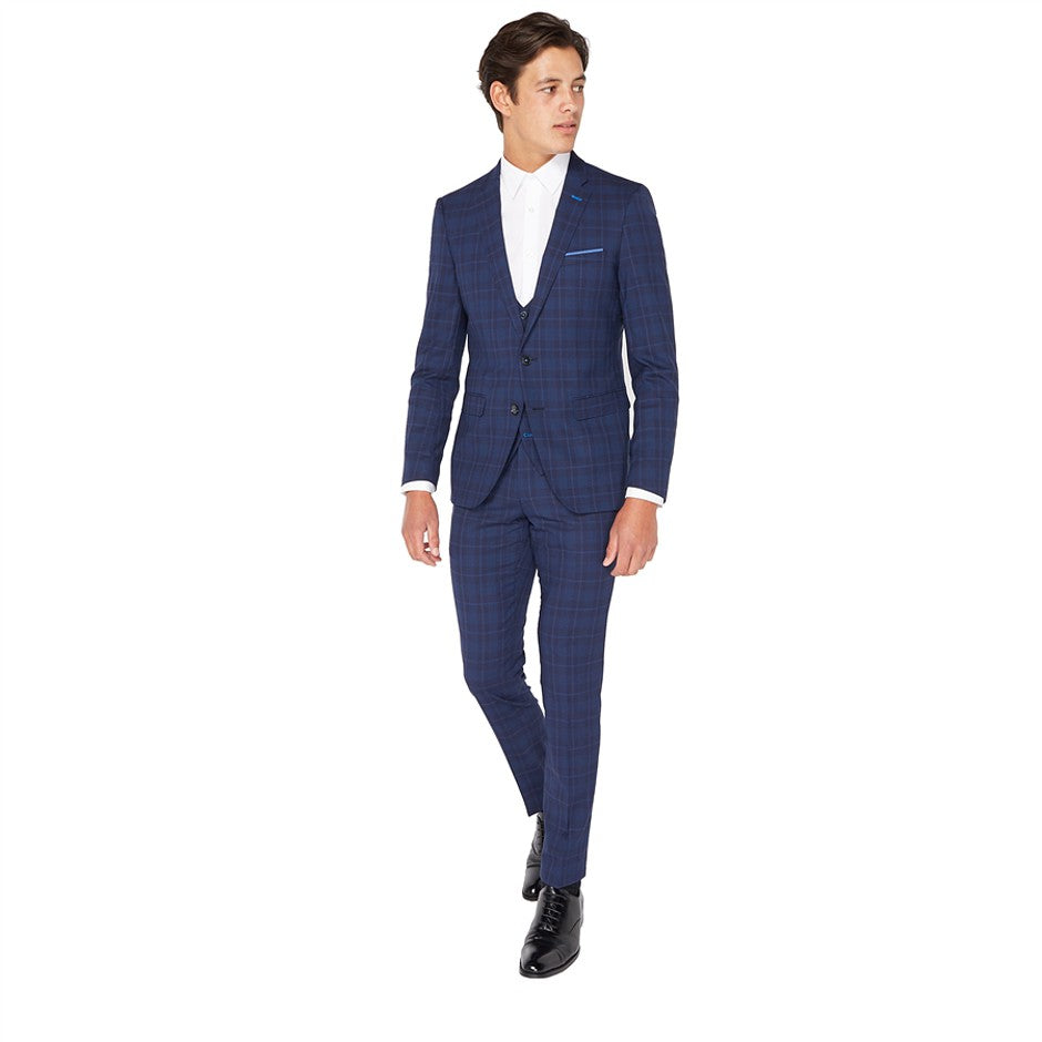 Extra-Slim Fit Trousers for Men in Navy Check