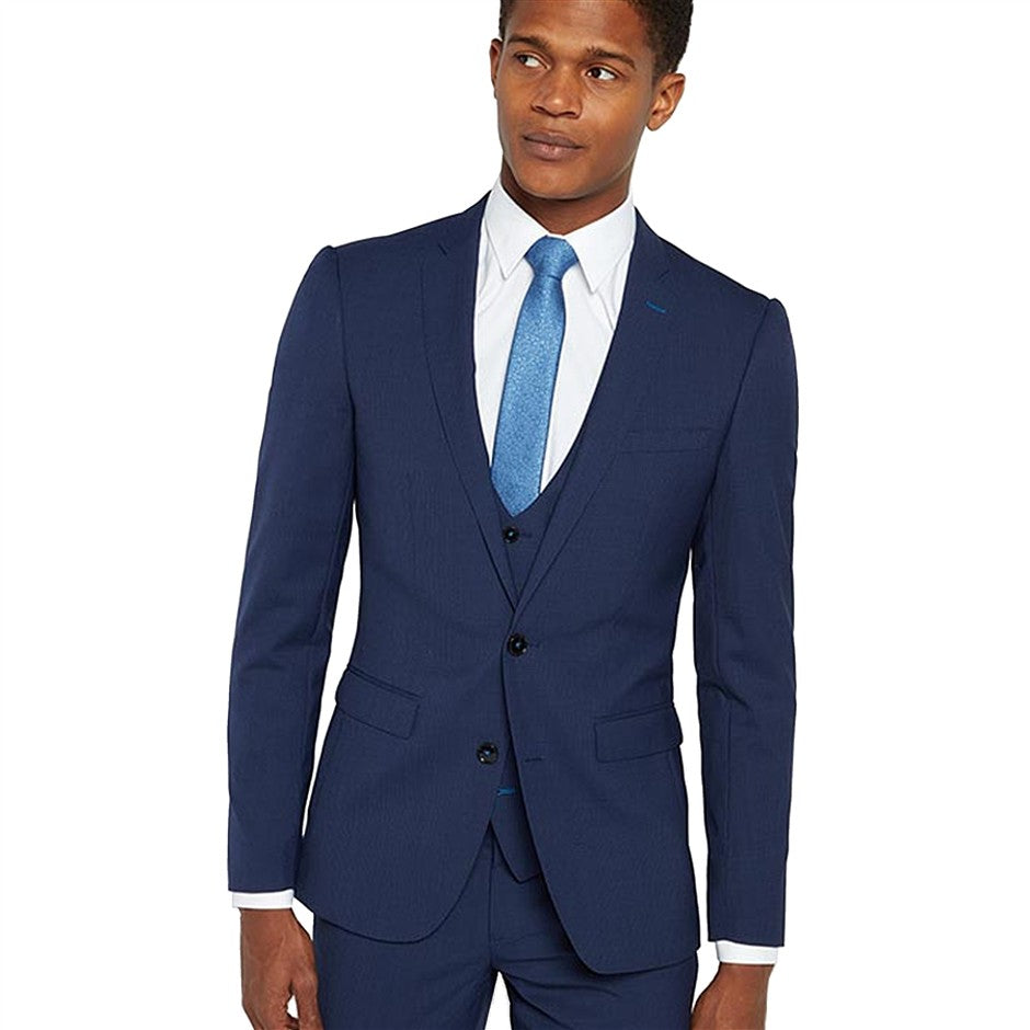 X-Slim Fit Micro Check Jacket for Men in Navy