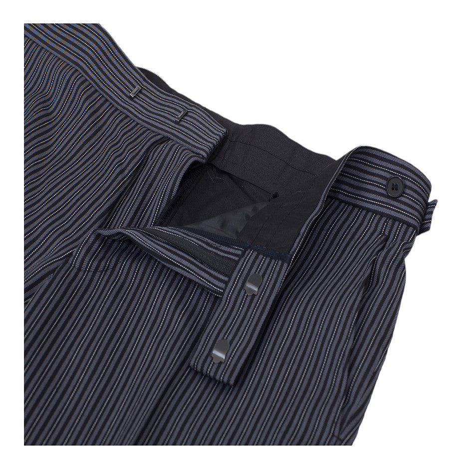 Masonic Plain Front Suit Trousers for Men in Black and Grey Pin Stripe