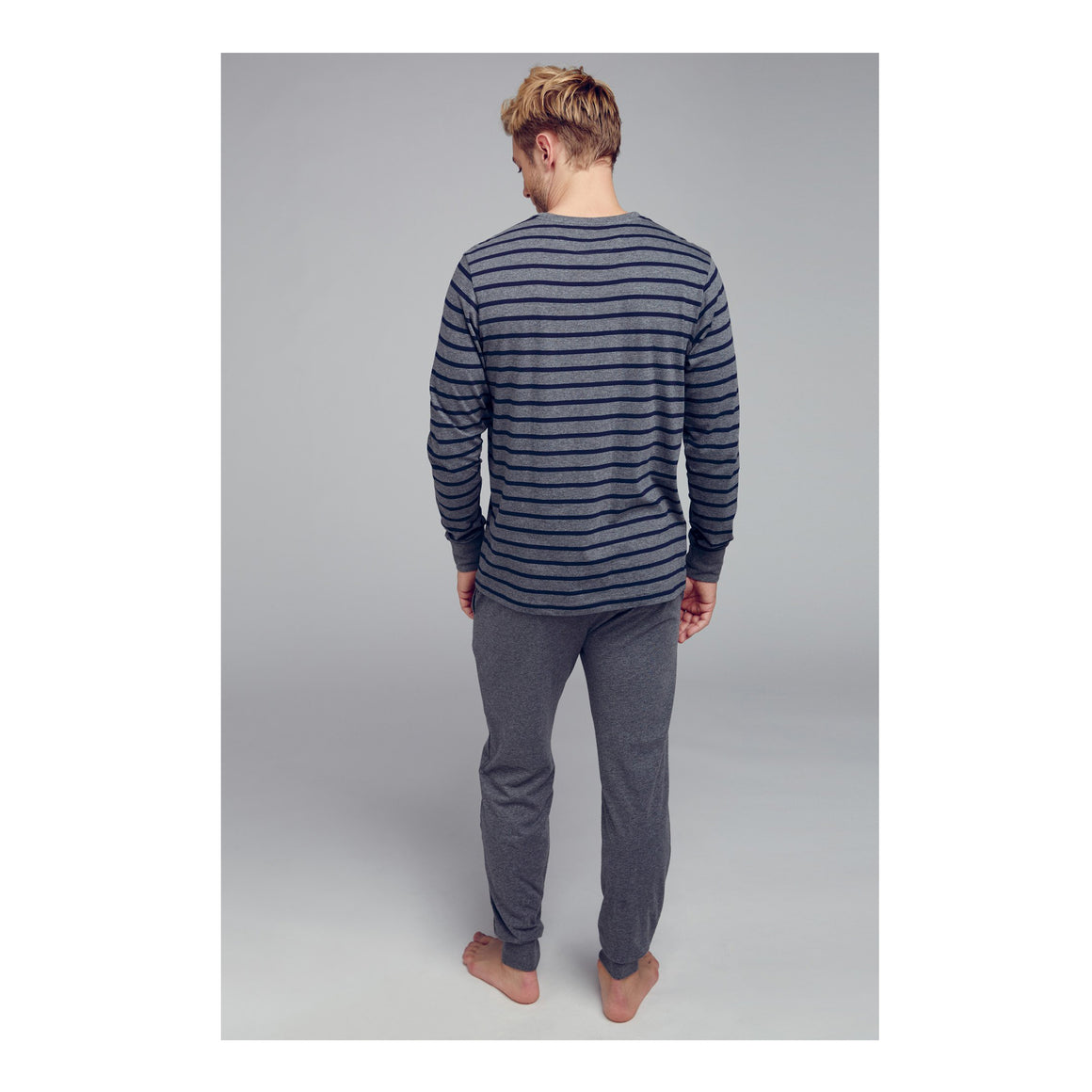 Cotton Nautical Stripe Full Knit Pyjama For Men In Dark Shadow Melange