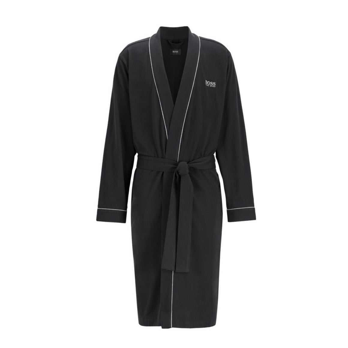 Cotton Dressing Gown with Contrast Piping in Black